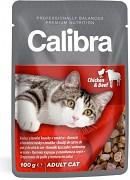 Calibra Cat kuřecí a hovězí-kapsička 100g